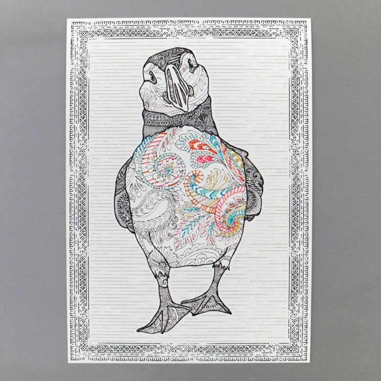 Paisley Puffin - Hand Embroidered