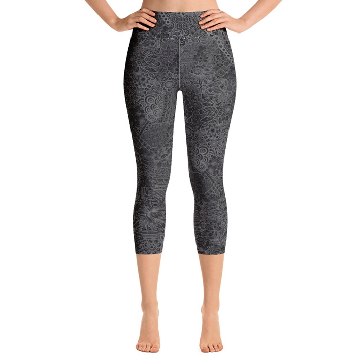 Miki High Waist Capri Leggings - Grey