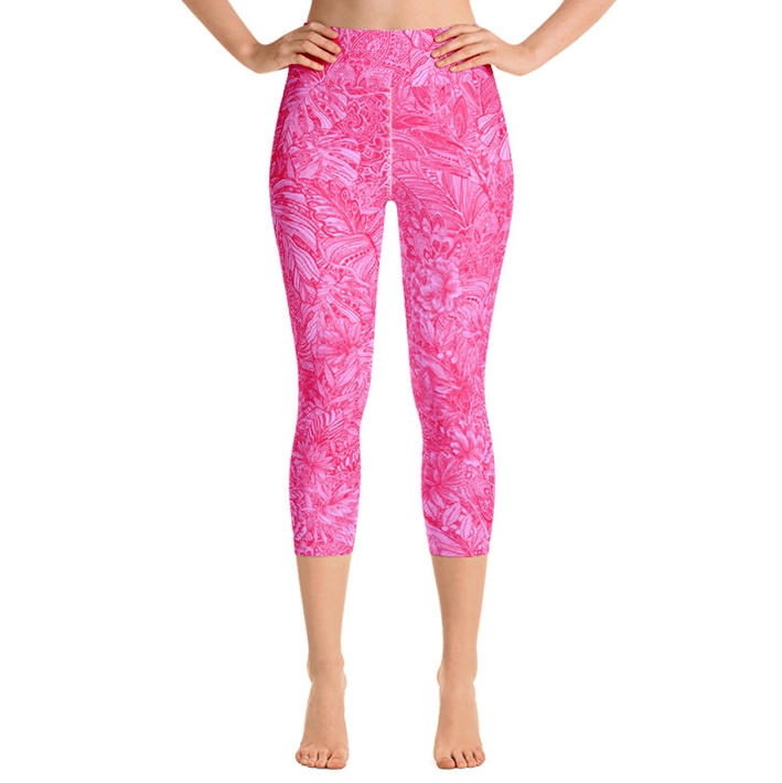 Talullah High Waist Capri Leggings - Hot Pink