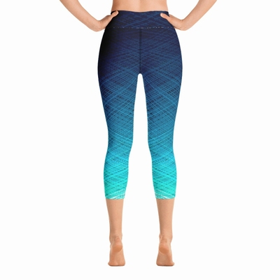 Odyssey High Waist Capri Leggings- Ocean Blue