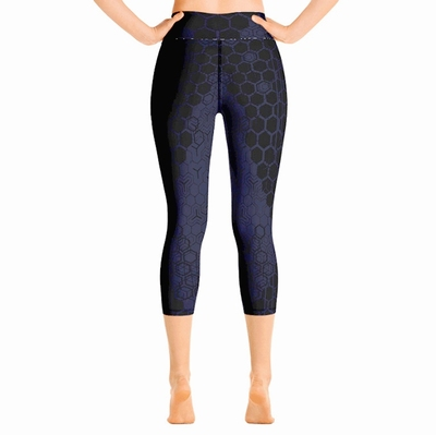 Geo High Waist Capri Leggings - Royal Blue