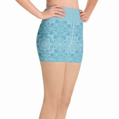 Astrid High Waist Shorts Turquoise