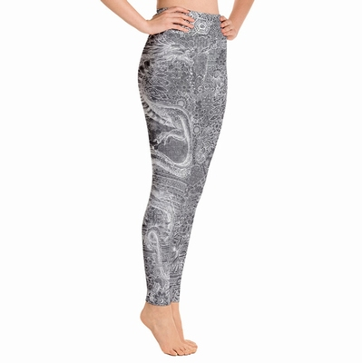 Dragon High Waist Leggings - White on Grey