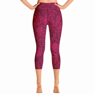 Tallulah High Waist Capri Leggings - Cerise Pink